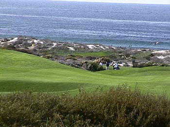 Golfers and Surfers enjoy the wonderful day at Spanish Bay - Asilomar State Beach